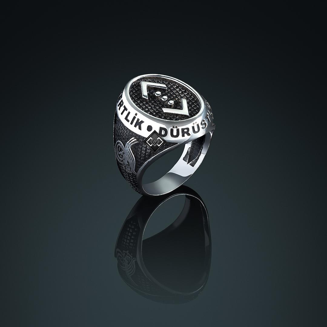 خاتم رجالي من الفضة التركية عيار 925 ديزاين شوكور