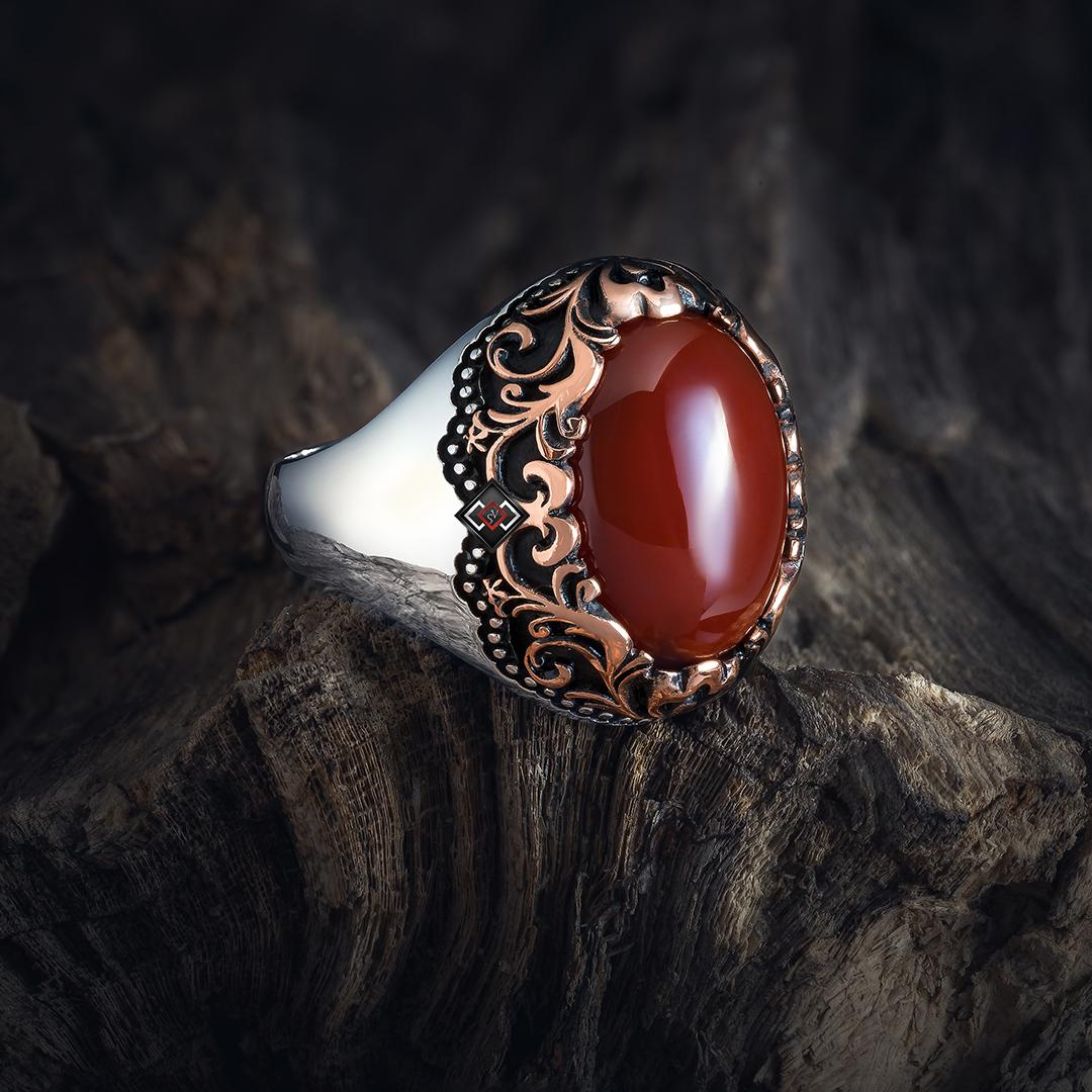 خاتم رجالي من الفضة التركية عيار 925 مرصع بحجر العقيق الاحمر