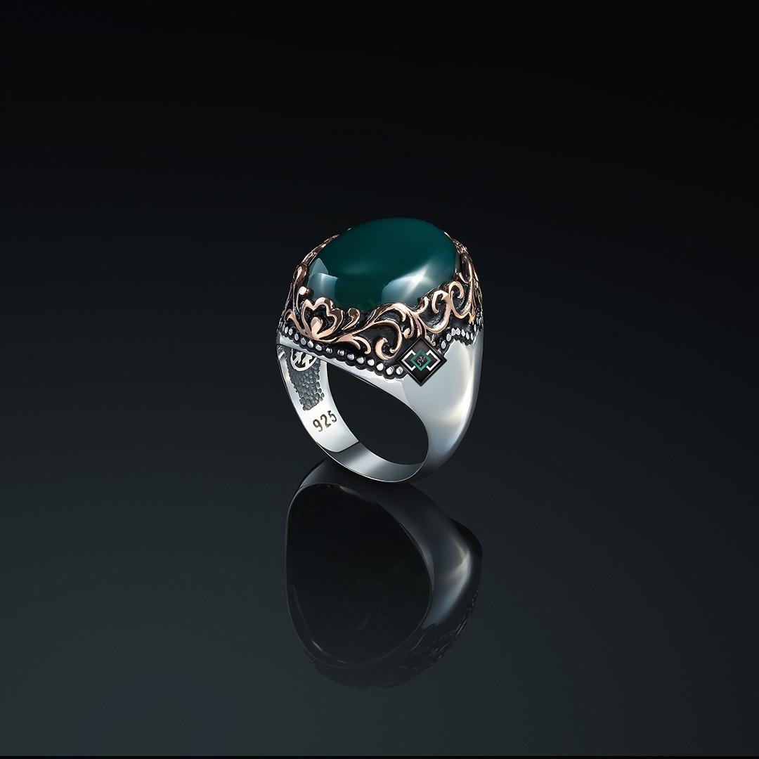 خاتم رجالي من الفضة التركية عيار 925 مرصع بحجر العقيق الاخضر