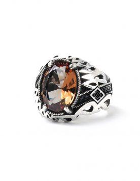 خاتم رجال من الفضة التركية عيار 925 مرصع بحجر السلطانيت الطبيعي متغير الالوان ( 85 دولار )